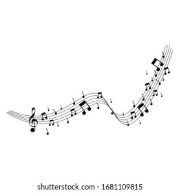 Music Note Collection vector design for banner, Isolated on white background.