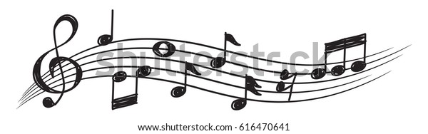 Музыкальная нота элемент дизайна в стиле doodle