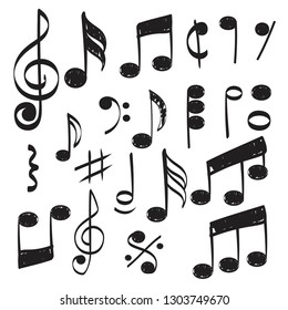 Music note. Doodles sketch musical vector hand drawn pictures isolated