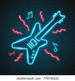 Music Note and Guitar Symbol Neon Light Glowing Vector Illustration Blue and Red Colour Design