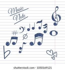 Music note hand draw on white line concept eps 10
