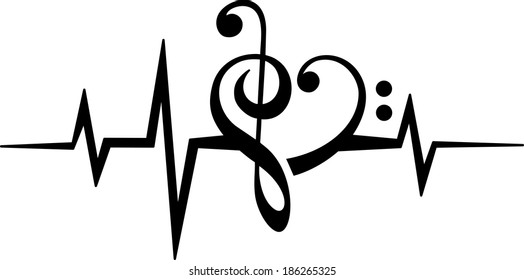 Music Note Heart - Treble & Bass Clef - Pulse - Frequency - Vector