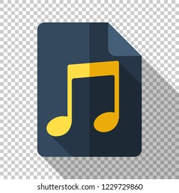 Music note icon in flat style with long shadow on transparent background