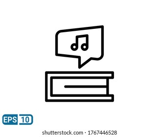 music note icon isolated on white background. vector illustration in line style. EPS 10
