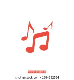 music note icon, melody or tune flat vector for musical apps and websites