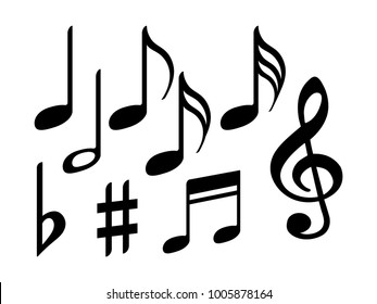 Music note icons vector set, Black symphony or melody signs isolated on white background. Music symbols and notes for sound and tune musical notation vector clip art.