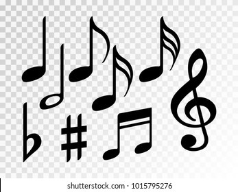 Music note icons vector set, Black symphony or melody signs isolated on transparent background. Music symbols and notes set for sound and tune musical notation vector clip art.