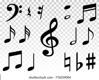 Music note icons vector set, Black symphony or melody signs isolated on transparent background. Music symbols and notes for sound and tune musical notation vector clip art.