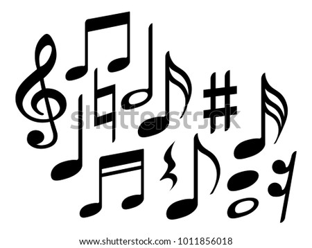 Music Note Icons Vector Set Black Stock Vector Royalty Free