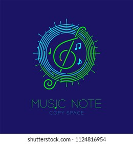 Music note with line staff circle shape logo icon outline stroke set dash line design illustration isolated on dark blue background with music note text and copy space