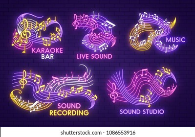 Music note neon light sign for karaoke bar, sound recording studio or jazz live concert template. Music notation symbol of shining note and treble clef on glowing waving stave for musical theme design