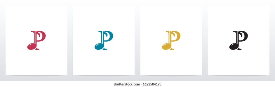 Music Note On Letter Logo Design P