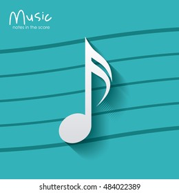 music note over striped background. Sound melody pentagram and musical theme. Vector illustration