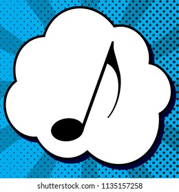 Music note sign. Vector. Black icon in bubble on blue pop-art background with rays.