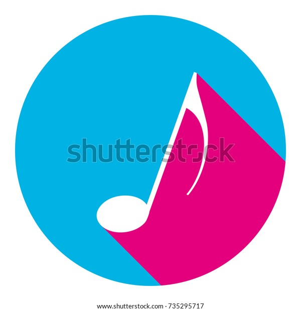 Music Note Sign Vector Flat White Stock Vector (Royalty Free