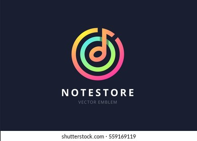Music note store emblem. Vector illustration in a flat style.