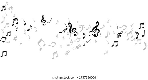 Music note symbols vector design. Song notation signs placer. Festival music concept. Isolated note symbols elements with pause. Birthday card graphic design.