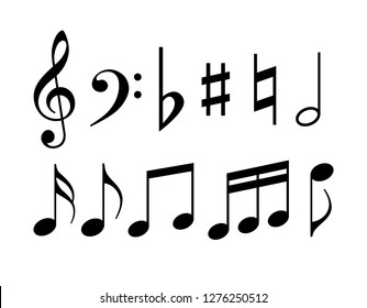 Music note symbols vector illustration isolated on white background