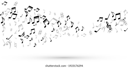 Music note symbols vector wallpaper. Melody notation elements placer. Radio music concept. Retro note symbols signs with sharp. Album cover backdrop.