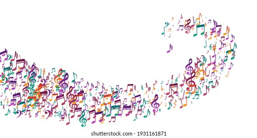 Music note symbols vector wallpaper. Symphony notation elements swirling. Digital music illustration. Abstract note symbols elements with pause. Album cover backdrop.