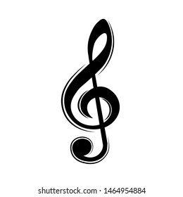 Music note, treble clef, key, vector illustration.