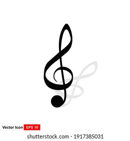 Music note vector icon on white background