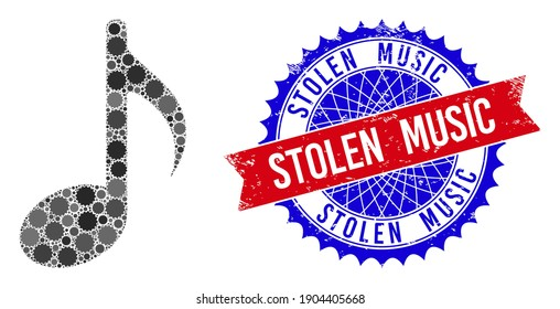 Music note vector mosaic of sharp rosettes and STOLEN MUSIC textured stamp print. Bicolor STOLEN MUSIC stamp seal uses rosette shape, red and blue colors.