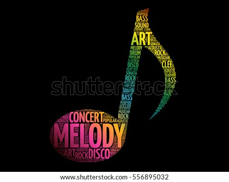 Music Note Word Cloud Melody Concept Stock Vector Royalty Free