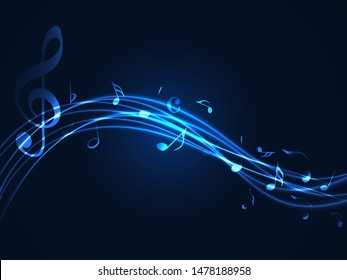 Music notes abstract. blue neon Music notes on rainbow line wave background. Black G-clef and music notes isolated vector illustration Can be adapt to Brochure, Annual Report, Magazine, music poster.