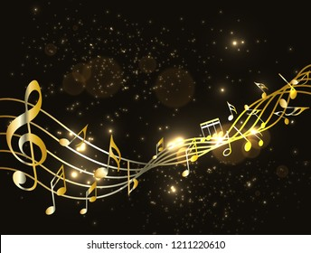 1000 Music Background Black Gold Stock Images Photos
