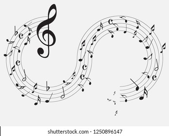 Music notes .Abstract musical background. Black Abstract music notes on line wave background. colorful music notes isolated vector illustration