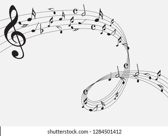 Music notes .Abstract musical background. Black Abstract music notes on line wave background.