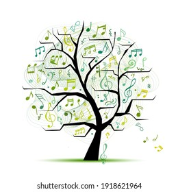 Music notes. Abstract musical tree for your design. Vector illustration
