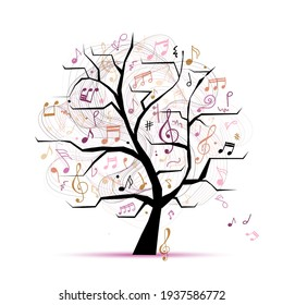 Music notes. Abstract musical tree for your design