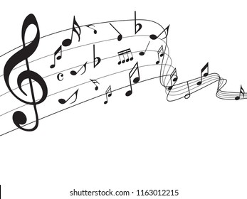 Music notes abstract. Music notes on rainbow line wave background. Black G-clef and music notes isolated vector illustration Can be adapt to Brochure, Annual Report, Magazine, music poster.