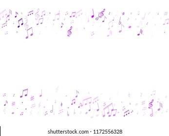 Music notes abstract vector musical frame background. Music symbols flying, musical notation. Isolated notes symbols frame border in violet on white.