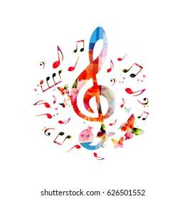 Musik, Hintergrund. Farbige G-Clef- und Musiknoten einzeln auf Vektorgrafik