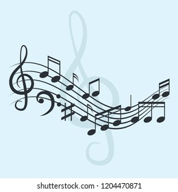 music notes for music background, vector illustration