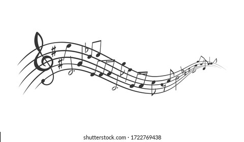 Music notes banner. Monochrome musical notes waves, sound backdrop. Vector illustration.