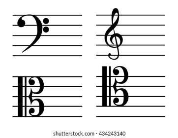 a music notes, bass clef, treble clef, Alto clef, tenor clef, black and white, on a white background, vector