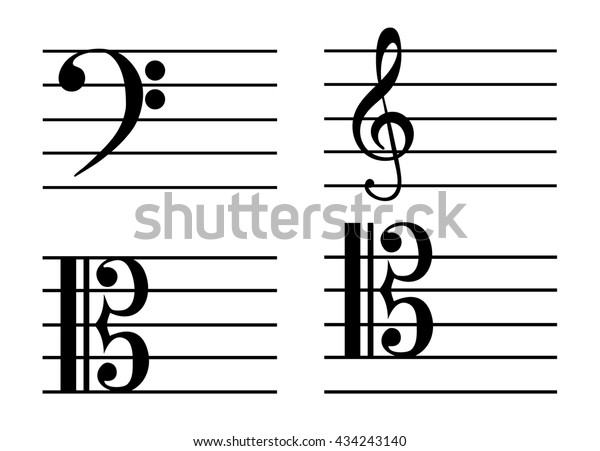 Music Notes Bass Clef Treble Clef Stock Vector (Royalty Free
