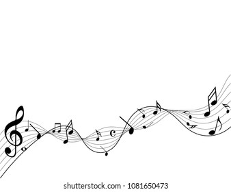 Music notes Black Abstract music notes on rainbow line wave background. Black G-clef and music notes isolated vector illustration Can be adapt to Brochure, Annual Report, Magazine, Poster, music notes
