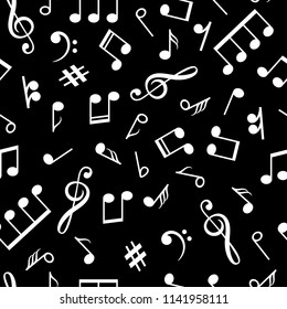 Music notes black pattern. Musical note signs old style background for vintage lp relax vector illustration