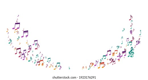 Music notes cartoon vector pattern. Audio recording signs burst. Classic music illustration. Grunge notes cartoon elements with sharp. Concert poster background.