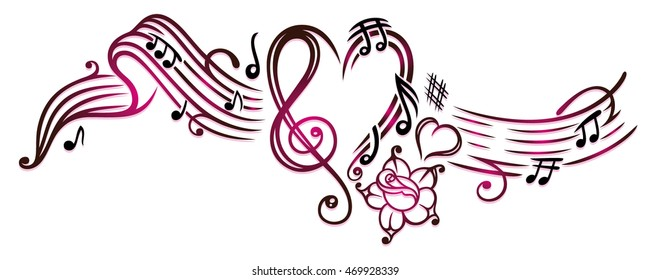 music notes with clef rose and hearts cherry red