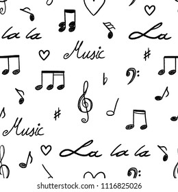 Music notes and clefs seamless pattern - vector musical texture.