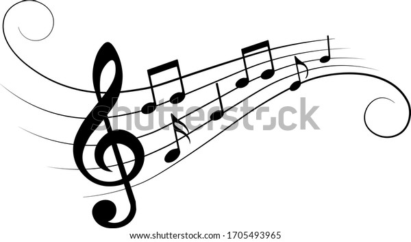 Music notes, with curves and swirls, vector illustration.