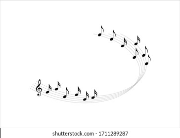 Music notes, Decorative musical notes element