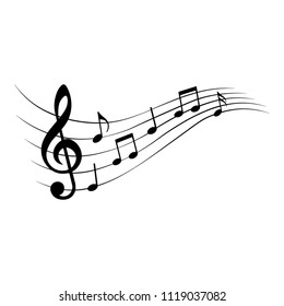 Music notes, design element, vector illustration.