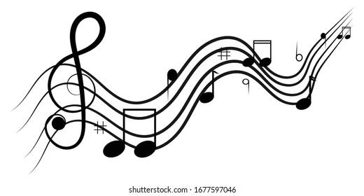 Music notes design on white background vector illustration